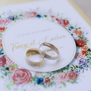 le faire part de mariage avec les alliances . LM Laure Mariage wedding planner pays basque